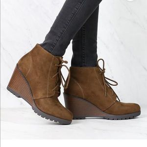 Soda Wood Wedge Lace Up Booties